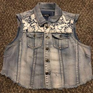 Name brand blue jean jacket .